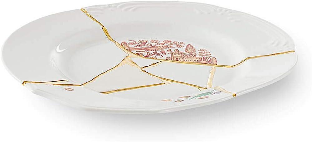 Seletti kintsugi piatto piano, in porcellana e oro 24 carati piano mod. 1 124136