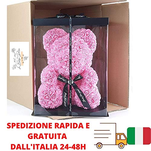 Oso de rosas de 25 cm con caja, idea regalo I para compromiso, aniversario, graduación, boda, bautizo, Navidad, día de la mujer, cumpleaños I de Italia