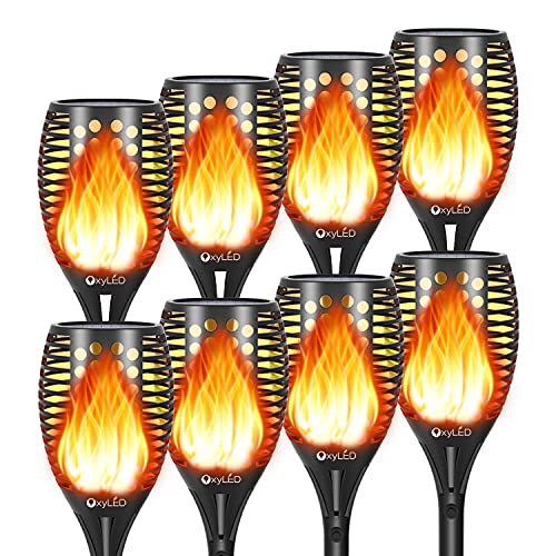 8-Pack Solar Torch Lights with Flickering Flames for Halloween Decorations Outdoors Garden Path Light, Waterproof Landscape Lighting for Pathway, Yard, Patio, Lawn, Porch, Christmas Lights Decor