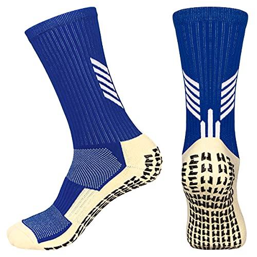 WACCET Calcetines Futbol Antideslizantes, 2 Pares Calcetines de Deportivos Hombre Antiampollas con Compresión de Arco Cómodo y Transpirables Calcetines de Trekking para Adulto, Niño