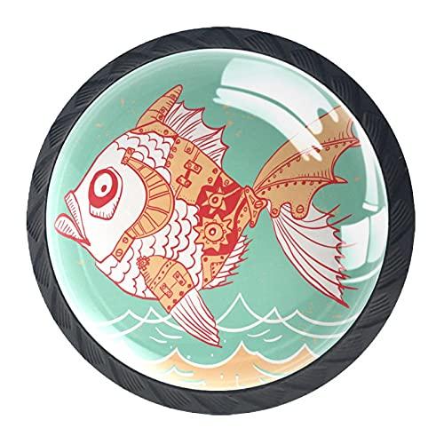 Pescado, 4Pack ABS aparador Perillas Gabinete Redondo Perillas Para Cajonera Gabinete Cajón De Cocina