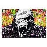 OUER Leinwanddruck Modernes Bilder Manic King Kong Gorilla