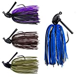 RUNCL Anchor Box - Flipping Jigs, Bass Fishing Jigs 3/8oz - Silicone Skirts, Spike Trailer Keeper, Triangular-Shaped Streamlined Head, Weedguard System, Proven Colors - Fishing Lures (Pack of 4)