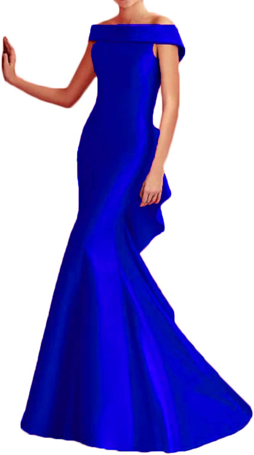 Alilith.Z Off The Shoulder Prom Dresses 2019 Mermaid Long Satin Evening Dresses Party Gowns for Women with Ruffles