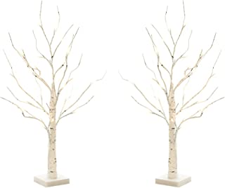Padoo 2PK 2FT 24LT Birch Tree Battery Powered Warm White LED for Home Decoration, Wedding.