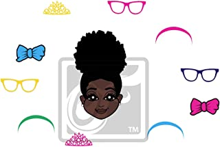 little girl with afro puffs clipart