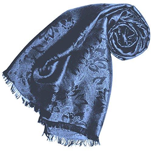 Lorenzo Cana Damen Schal Luxustuch elegant gewebt in Damast - Webung florales Paisley Muster aus Viskose mit Seide 55 x 190 cm
