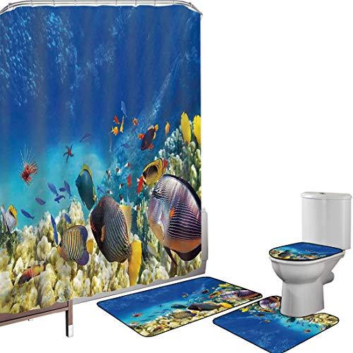 Juego de cortinas baño Accesorios baño alfombras Decoración del océano Alfombrilla baño Alfombra contorno Cubierta del inodoro Hada bajo el agua con peces y fuente de oxígeno Coral Paisaje de cultivo