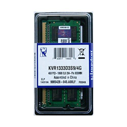 Memoria Ram DDR3 4GB NOTEBOOK PORTATILE 1333Mhz KVR1333D3S9 4G 204-pin LAPTOP