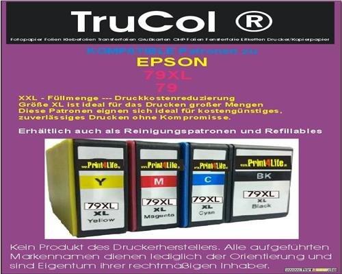 4 Wiederbefüllbare Patronen mit Autoresetchip leer zu Epson 7901 7902 7903 7904 (1-Set) Black Cyan Magenta Yellow Tintenpatronen mit Hoher Kapazität 65ml/34ml für folgende Drucker WorkForce Pro WF-4630DWF/ WF-4640DTWF/ WF-5110DW / WF-5190DW/ WF-5190DW BAM/ WF-5620DWF/ WF-5690DWF/ WF-5690DWF BAM