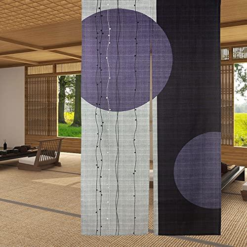 LIGICKY Cortina de Puerta noren Japonesa Tipo Largo círculo patrón Impreso tapices Puerta Ventana Tratamiento para decoración del hogar 85 x 150 cm