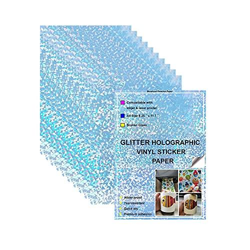 Broken Glass - Carta adesiva in vinile con stampa olografica, 20 fogli A4, formato A4, ad asciugatura rapida, per stampanti a getto d'inchiostro/laser