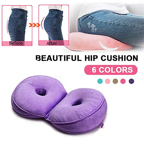 Dual Comfort Cushion Lift Hips Up Seat Cushion, Multi-functional Plush Dual Seat Cushion Beautiful Folding Pillow for Pressure Relief, Fits in Car Seat, Home, Office