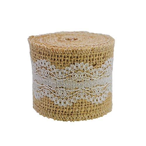 2 m2 5 cm yute natural yute de yute rústico vintage para bodas, decoración de boda Hessian encaje, yute feliz Navidad fiesta suministros DIY (10) (02)