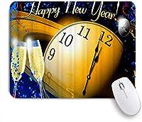 PATINISAマウスパッド 新年あけましておめでとうございます時計シャンパンのお祝い ゲーミング オフィス おしゃれ 耐久性が良い 滑り止めゴム底 ゲーミングなど適用 マウス 用ノートブックコンピュータマウスマット