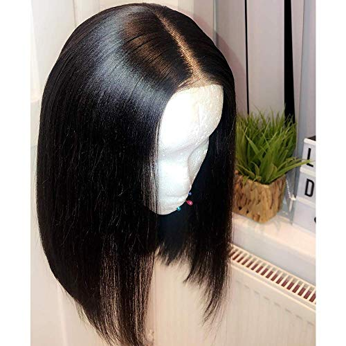 Maxine Bob Human Hair Lace Front Wigs 150% Density Full Brazilian Straight Virgin Hair Glueless Short Bob Human Hair Wigs with Baby Hair for Women 8 inch