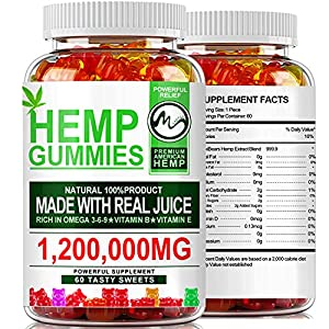 (2 Pack) Hemp Gummies 1,200,000mg High Strength - Stress Relief Fruity Gummy Bear with Hemp Oil, 100% Natural Hemp Candy Supplements Promotes Sleep & Calm Mood
