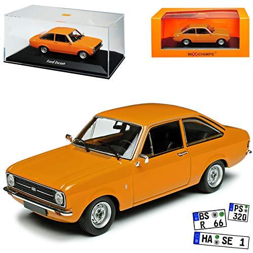 Minichamps Ford Escort MKII 3 Türer Orange 2. Generation 1974-1980 1/43 Maxichamps Modell Auto mit individiuellem Wunschkennzeichen
