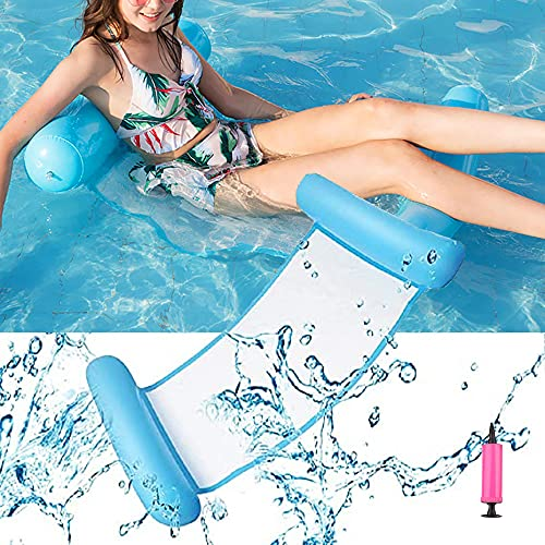 VARWANEO Sandwich Hammock Foldable Inflatable Backrest Floating Row Water Amusement Lounge Chair Floating Bed