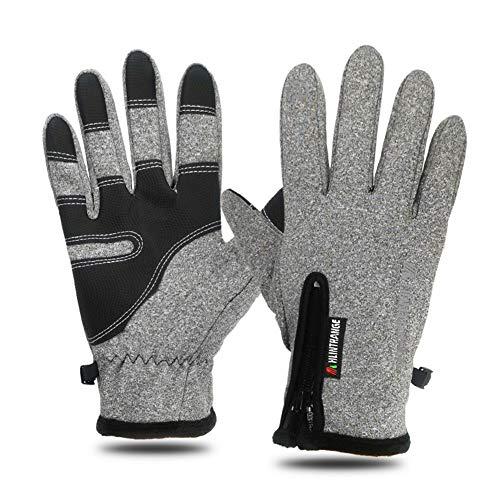 Mroobest Handschuhe, Winterhandschuhe, Warme Handschuhe, Touchscreen Handschuhe mit Winddicht und wasserdicht Funktion, ideal für Radfahren, Laufen, Camping im Winter-Grau-Herren-M
