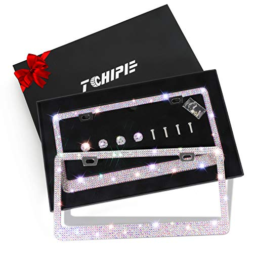 Tchipie 2 Pack Bling Rhinestone License Plate Frames for Women Girl, Bedazzled Sparkly Cute Diamond Car License Plate Frame, Glitter Crystal Tag Frame with Gift Box, Stainless Steel Frame(AB Colorful)