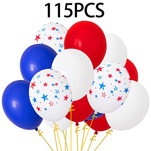 Moon Boat Patriotic Decorations Star Latex Balloons - Red Blue White - Fourth of July Party Supplies(100Ct)