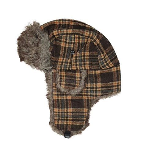 Delano Unisex Tweed Winter Trooper Trapper Hunting Hat Aviator Winter Cap,Brown & Yellow,One Size