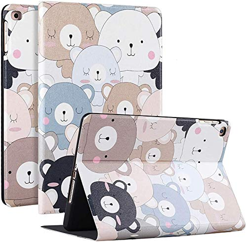 FANG IPad 10.2 2020/2019 Case with Cute Cartoon Pattern, Soft Silicone IPad Smart Cover Magnetic Auto Sleep/Wake for Apple IPad 7th/8th Generation,Bear