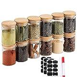 Un conjunto de 12 macetas de vidrio de borosilicato, botellas de alimentos con tapas de cierre de madera de bambú y juntas de silicona, utilizadas para especias, nueces, etc.