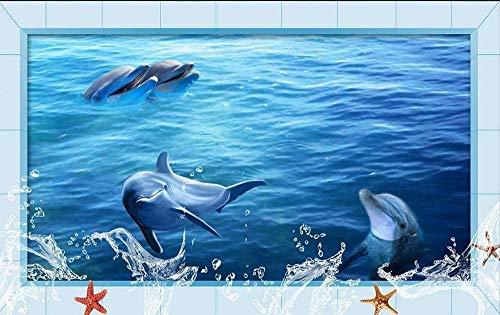 3D Wallpaper Wandbild 3D Ocean Dolphin Boden Wandbilder In Wandaufkleber Foto Boden Wallpaper 3D Stereoskopische 3D Boden Wallpaper Wallpaper 280X200Cm