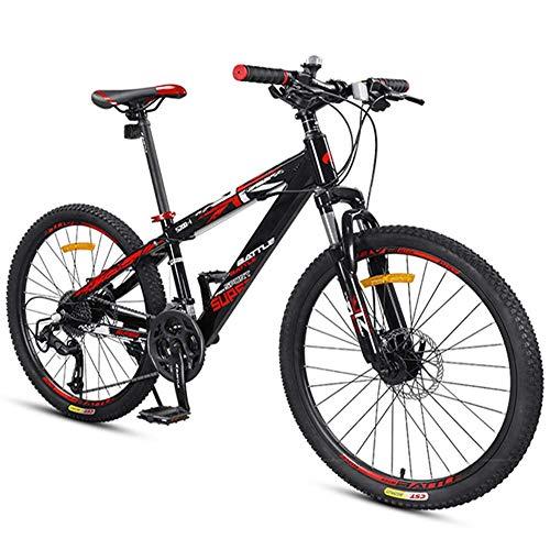 DJYD Bikes Jungen Berg, Berg Trail Bikes mit Doppelscheibenbremse, Vorderradaufhängung Aluminium-Rahmen All Terrain Berg Fahrrad, Schwarz, 24-Zoll-27-Speed FDWFN
