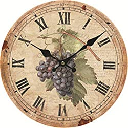 Moonluna Grape Rustic Wooden Wall Clock Christmas Farmhouse Gift for Living Room Bedroom Kitchen Home Decor 12 Inches