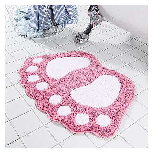 ZHUSHI Alfombra de baño de microfibra con estampado de pies antideslizantes (color: rosa)