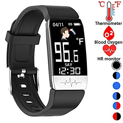 Fitness Tracker,Smart Watch with Body Thermometer Heart Rate Blood Oxygen Blood Pressure Monitor,Pedometer Sleep Monitor, Step Counter for Kids Women Men (a-Black)