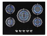 Jocel Placa Encastrable de Gas 5 Hornillos Cristal Templado JPEMGBG-705A
