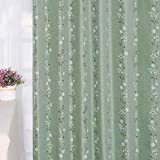 Baibu Home カーテン 花柄 グリーン 幅100cm×丈178cm 2枚組 2級遮光 可愛い ドレープ 遮光 カーテン おしゃれ 形状記憶 断熱 洗濯可