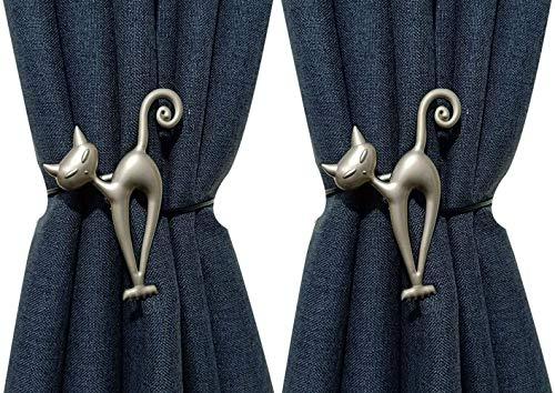 CellCase 1 Pair Lovely Cat Style Magnetic Decorative Tiebacks Holdbacks Curtain Clips Drapery Holder (Silver - 1 Pair)