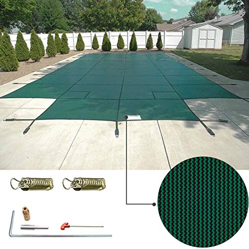 Happybuy Pool Safety Cover 16x32ft Rectangle Inground Safety Pool Cover Green Mesh with 4x8ft Center End Steps Solid Pool Safety Cover for Swimming Pool Winter Safety Cover