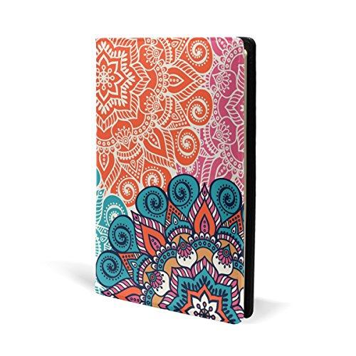 COOSUN Mandala - Funda de piel para libro de texto, ajuste para la mayoría de libros de texto de 5,8 x 8,7 pulgadas