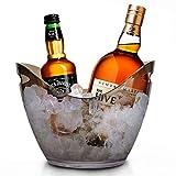 Yobansa 4L Portaghiaccio,Secchio di Ghiaccio,Secchiello Ghiaccio,Secchiello in Acrilico per Bottiglie di Vino/Spumante/Champagne e Ghiaccio (Black Clear)