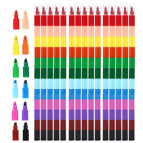 MeiMeiDa 24 Pieces Stacking Crayons for Kids Party Favors Colorful Stackable Buildable Crayon Set - Fun Rainbow Crayons for Art Paint Party, Goodie Bag Filler, Prizes