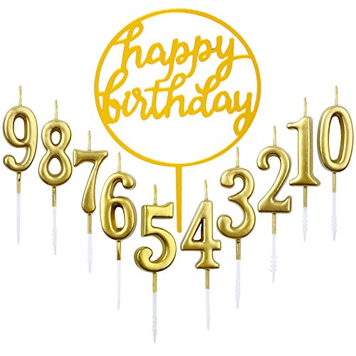 10pcs Number 0-9 Birthday Numeral Cake Candles + 1pcs Letter Happy Birthday Glitter Cake Topper Decoration Cake Number Digital Candles for Birthday Party Wedding(Golden)