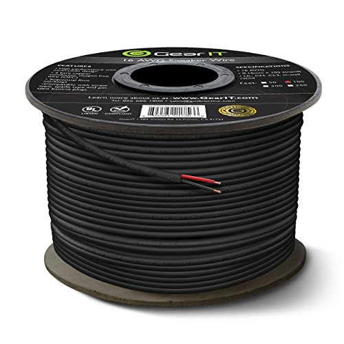 16 AWG CL3 OFC Outdoor Speaker Wire, GearIT Pro Series 16 Gauge (100 Feet / 30.48 Meters/Black) Oxygen Free Copper UL CL3 Rated for Outdoor Direct Burial and in-Wall Installation Speaker Cable