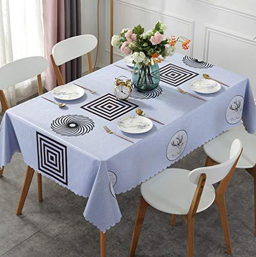 KDENDGGA Mantel Limpio Mantel Color Café Cuadrado Molino De Viento Mantel Rectangular Vinilo Impermeable PVC Mantel, Jardín Cocina Banquete135X180Cm