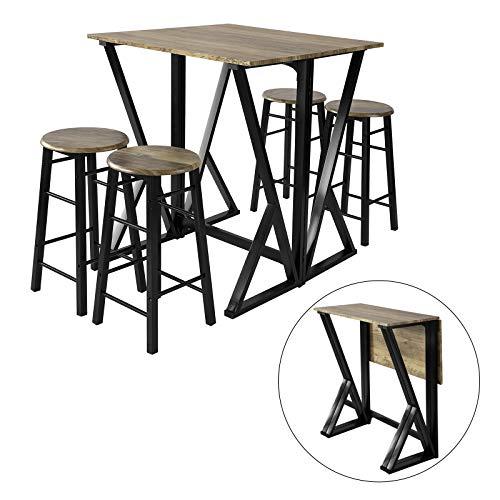 SoBuy OGT24-N 5-teilige Essgruppe Esstisch mit 4 Stühlen Klapptisch Esszimmer Sitzgruppe Küche Küchentisch Holztisch klappbar im Industrial-Look