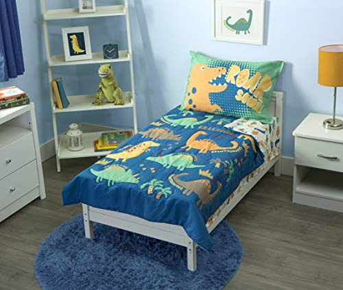 Funhouse 4 Piece Toddler Bedding Set - Includes Quilted Comforter, Fitted Sheet, Top Sheet, and Pillow Case - Dinosaur Roar Design for Boys Bed