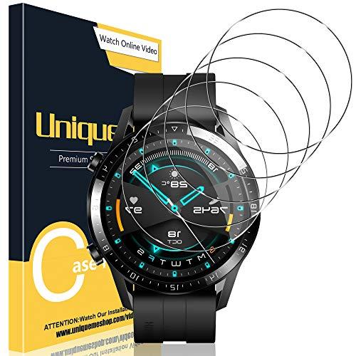 UniqueMe [3 Pack Protector de Pantalla Compatible con Huawei Watch GT 2 46mm, película Transparente de Burbuja de Vidrio Templado Huella Digital Disponible