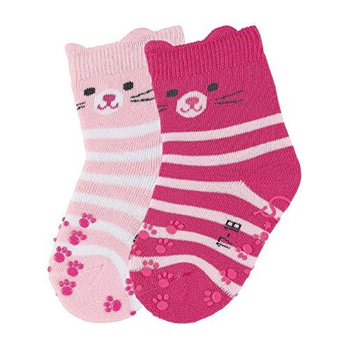 Sterntaler Baby-Mädchen ABS-Krabbelsöckchen DP Katzeng Socken, Rosa (Rosa 702), One size (Herstellergröße: 22)