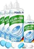 PREMIUM Kontaktlinsen Fluessigkeit für weiche Linsen, bester Tragekomfort dank Panthenol, Made in Germany - 4 Flaschen ALL-IN-ONE Kontaktlinsenflüssigkeit für Monats- und Wochenlinsen, 3 Behälter