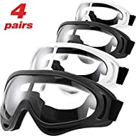 Frienda 4 Pairs Protective Goggles Safety Glasses Eyewear for Teens Game Battle Hiking and Sand Prevention (Black, White)